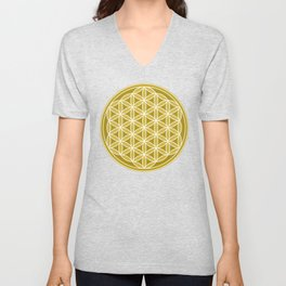 Flower of Life – Golds & White Unisex V-Neck