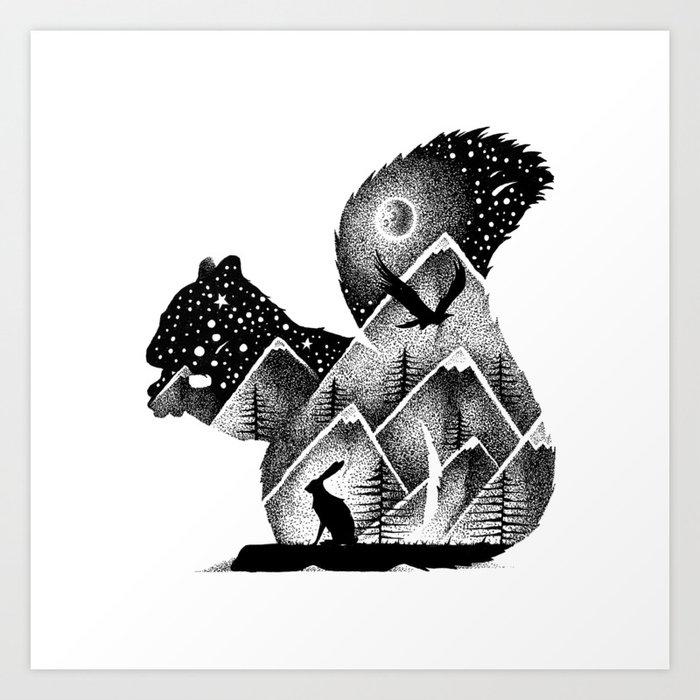 INTO THE MOUNTAINS Art Print