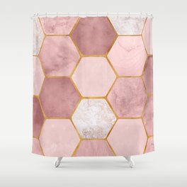 Pink and Gold Hexagon Print Shower Curtain