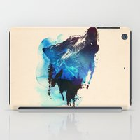 wolf iPad Cases featuring Alone as a wolf by Robert Farkas