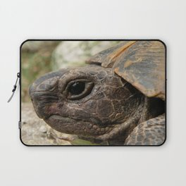 Close Up Side Portrait Of A Turkish Tortoise Laptop Sleeve