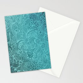 Detailed zentangle square, blue colorway Stationery Cards