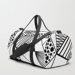 Modern abstract black white geometric stripes polka dots Duffle Bag