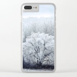 Foggy Winter Landscape with snow covered Trees Clear iPhone Case