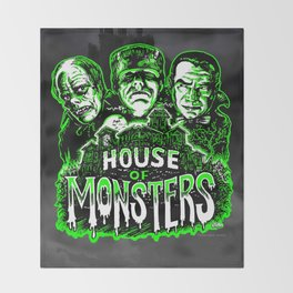 House of Monsters Phantom Frankenstein Dracula classic horror Throw Blanket