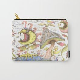 quirky spring flora and fauna fantasy pastels Carry-All Pouch
