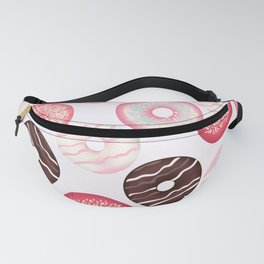 Vector pattern with sweet pink donuts Fanny Pack