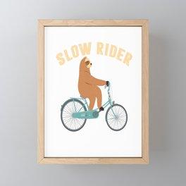slow rider bike cycling sloth slow slow Framed Mini Art Print