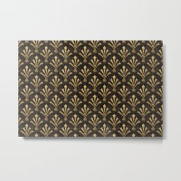 Elegant Gold Brown Art Deco Pattern Metal Print