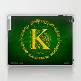 Joshua 24:15 - (Gold on Green) Monogram K Laptop & iPad Skin