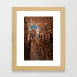 Prison Corridor - Sepia Blues Framed Art Print