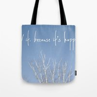 the perks of being a wallflower Tote Bags featuring perks of being a wallflower - life is happening by lissalaine