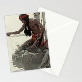 "N C Wyeth Vintage Western Painting ""Fishing"" Stationery Cards"