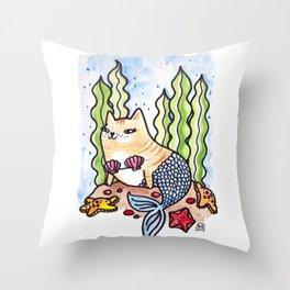 Seashell Mer-Kitty Throw Pillow