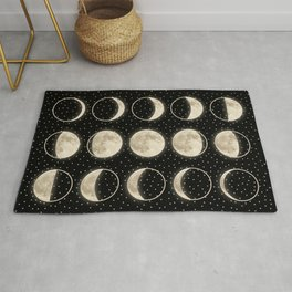 shiny moon phases on black / with stars Rug