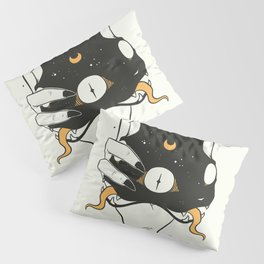 Two Headed Black Cat In Witch Hand Pillow Sham