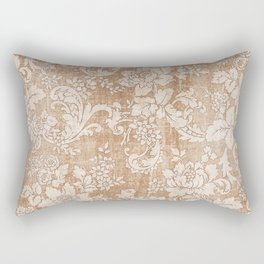 Vintage white brown grunge shabby floral Rectangular Pillow