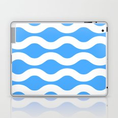 Wavey Lines White & Blue Laptop & iPad Skin