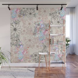 Modern vintage black rose gold watercolor floral Wall Mural