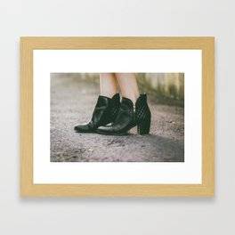 Leather Booties Framed Art Print
