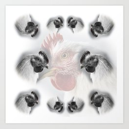 Pattern of domestic chickens Art Print