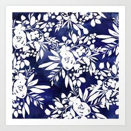 Elegant navy blue watercolor floral white pattern  Art Print