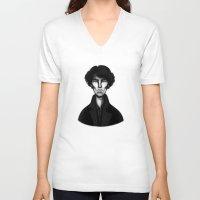 sherlock V-neck T-shirts featuring Sherlock by Blanca Limón