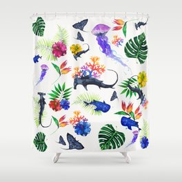 tropical shark pattern Shower Curtain
