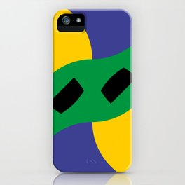 This is a very strange mask for a very strange yellow face. Or maybe it's a boomerang in a black sky iPhone Case