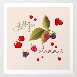 summer berry pattern Art Print