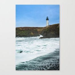 Receding waves at Yaquina Head Lighthouse in Newport, Oregon Canvas Print