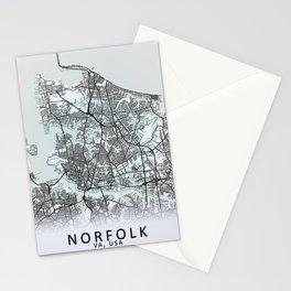 Norfolk, VA, USA, White, City, Map Stationery Cards
