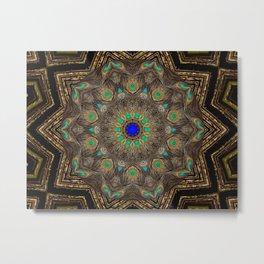 Bohemian Meditation Peacock Mandala Art Namaste A253 Metal Print