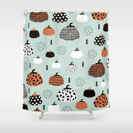 Inky Texture Pumpkins halloween illustration pattern design mint orange Shower Curtain