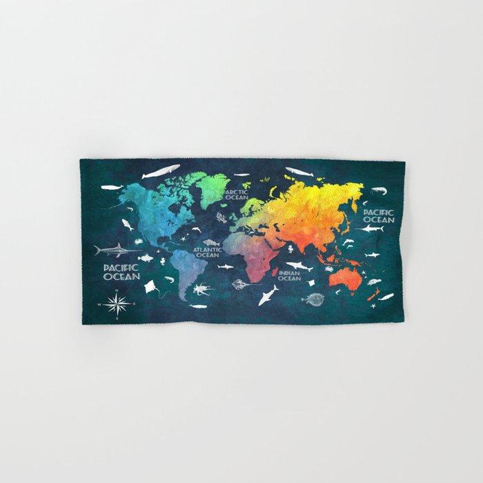 Ocean World Map color #map #worldmap Hand & Bath Towel
