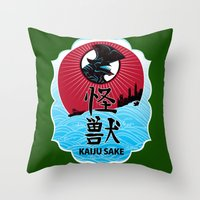 kaiju Throw Pillows featuring Kaiju Sake by zerobriant