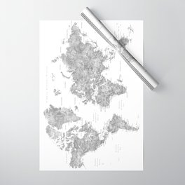 """Watercolor world map with LABELS IN SPANISH, """"Jimmy"""" Wrapping Paper"""