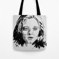 silence of the lambs Tote Bags featuring Clarice Starling Sketch - The Silence of the Lambs by Soyarts