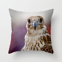 falcon Throw Pillows featuring Falcon  by Bader Al Awadhi