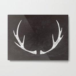 Chalkboard Art - Antlers Metal Print