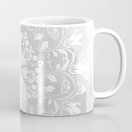 white on gray mandala design Coffee Mug