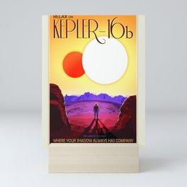 NASA Space Travel Retro Poster Kepler- 16B Mini Art Print