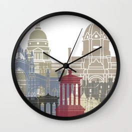 Edinburgh skyline poster Wall Clock