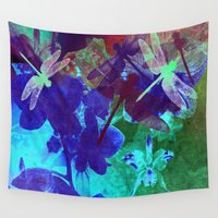 milan Wall Tapestries featuring Dragonflies W by Vitta