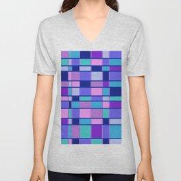 Rectangle Pattern blue violett Unisex V-Neck