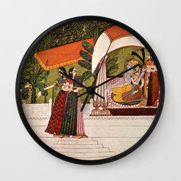 Indian Masterpiece: Krishna and Radha in a pavilion portrait painting Wall Clock