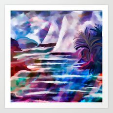 Sailing The Coast Of San Diego by Sherri Of palm Springs/ abstract Art Print