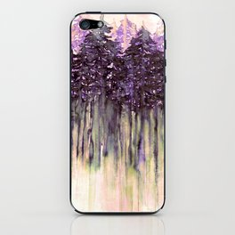 NORTHWEST VIBES Colorful Watercolor Painting Forest Trees Violet Green Modern Nature Art West Coast  iPhone Skin