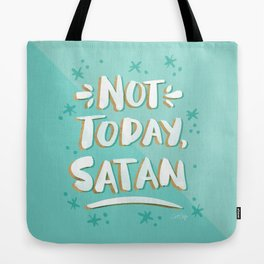 Not Today, Satan – Mint & Gold Palette Tote Bag