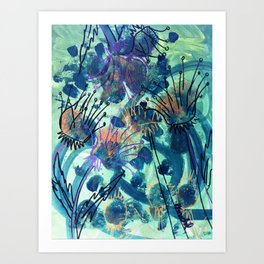 Sunflower and Thistle Art Print